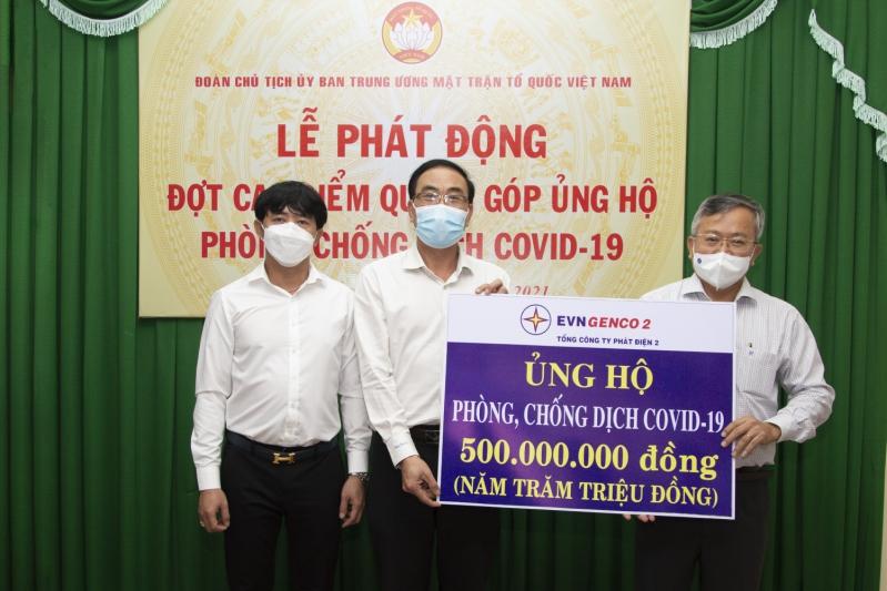 EVNGENCO 2 trao tặng 500 triệu đồng cho quỹ phòng, chống dịch COVID-19